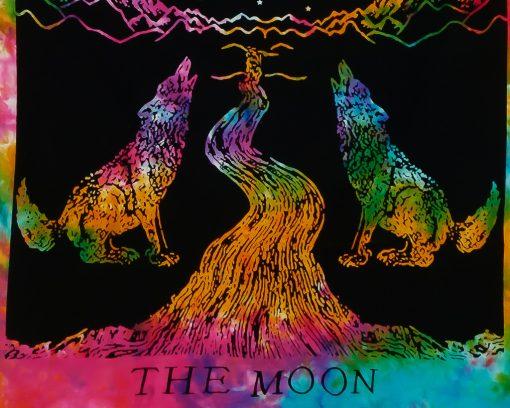 Kleines Wandtuch The Moon batik bunt