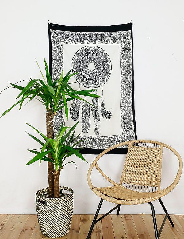 Kleines Wandtuch Traumfänger schwarz weiß