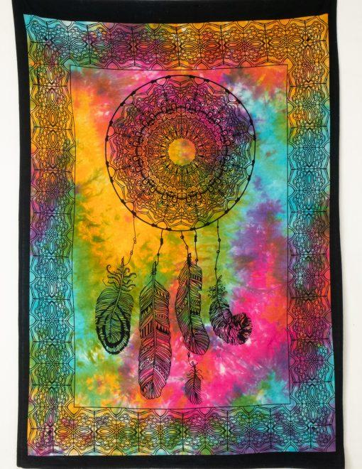 Kleines Wandtuch mit Traumfänger batik bunt