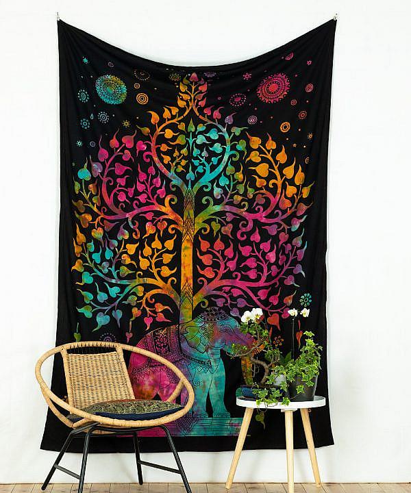 Wandtuch Elefant und Lebensbaum schwarz bunt