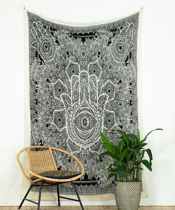 Wandtuch Fatimas Hand weiß schwarz