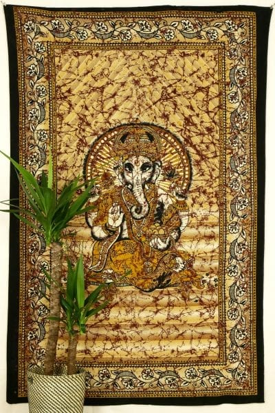 Wandtuch Lord Ganesha in schwarz gelb orange