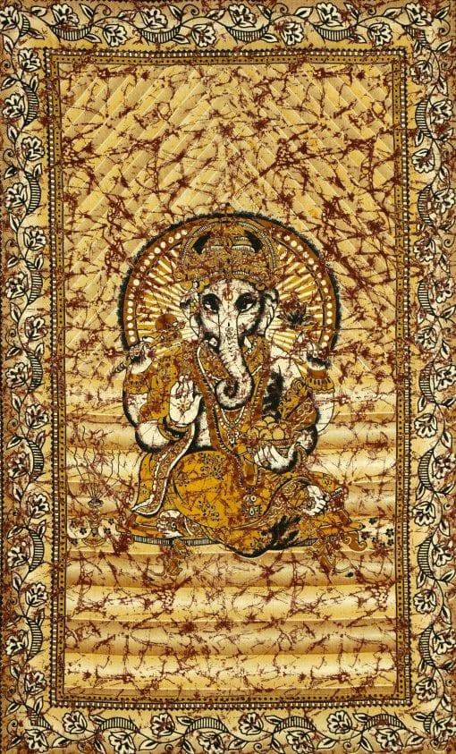 Wandtuch Lord Ganesha in schwarz gelb orange