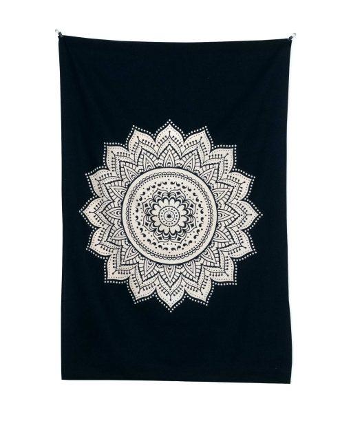 Wandtuch Lotus Mandala schwarz weiß - klein