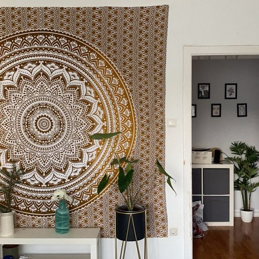 Wandtuch Ombre Mandala ocker braun groß