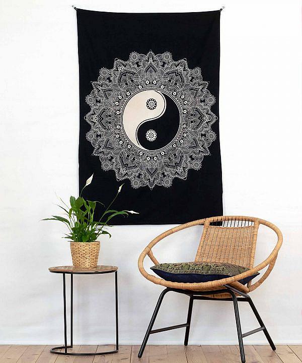 Wandtuch Ying & Yang schwarz weiß - klein