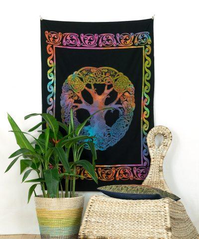 Wandtuch keltischer Knoten batik bunt