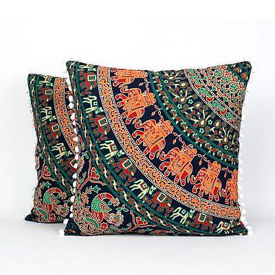 Mandala Kissen mit Elefanten in orange türkis mit Reißverschluss