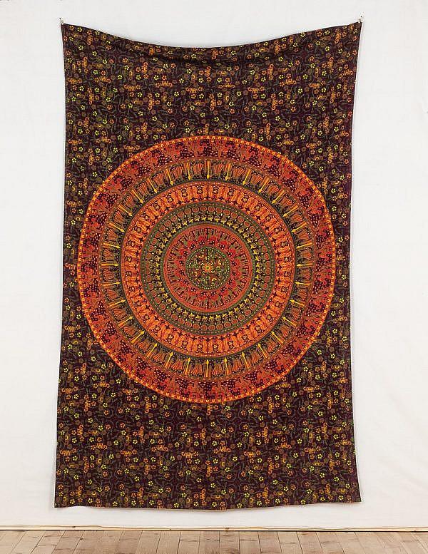 Mandala Tuch mit Elefanten in rot orange