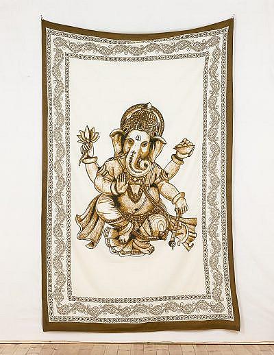 Wandtuch Ganesha weiß braun