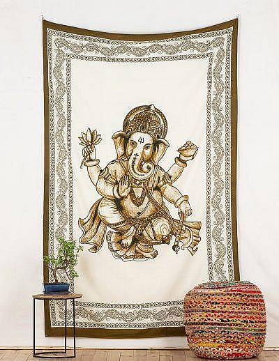 Wandtuch Ganesha braun weiß