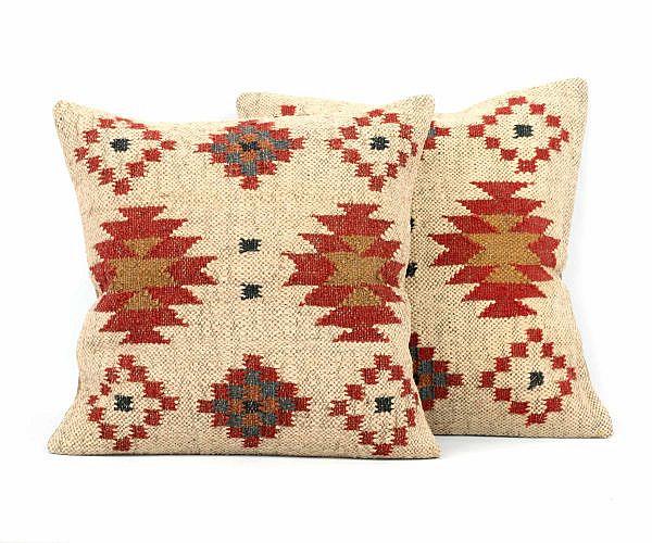 Jute Kissen Kelim Stil mit Wolle 40x40 cm beige rot 2 Stück