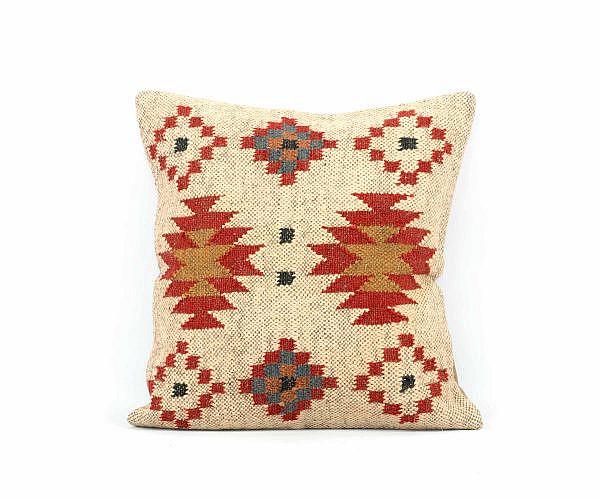 Jute Kissen Kelim Stil mit Wolle 40x40 cm beige rot einzeln