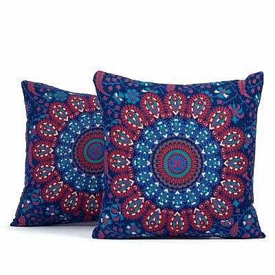 Kissen Pfauenfeder Mandala blau rot türkis ca. 40x40 cm Set 2 Stück