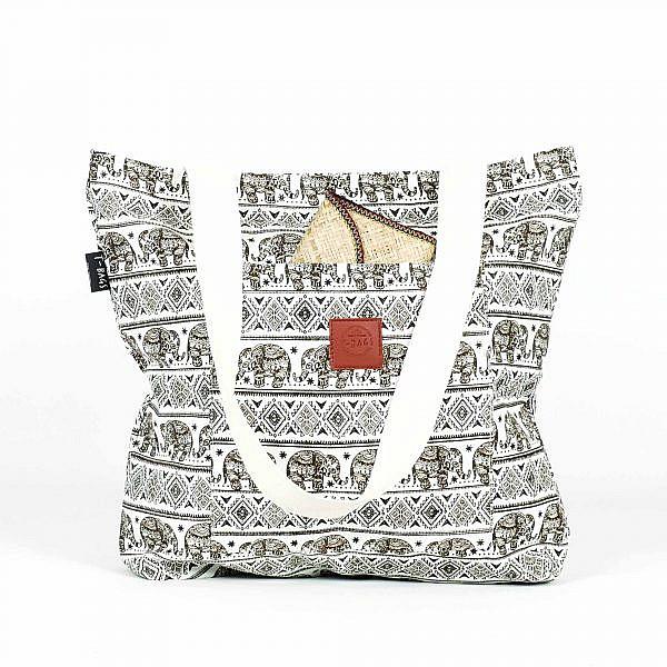 T-Bags Shopper Canvas Tragebeutel mit Elefanten in braun Vorderseite