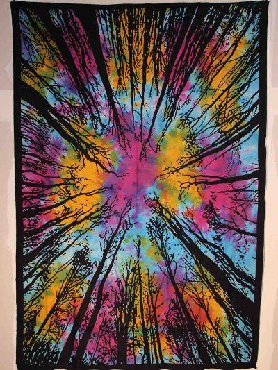 Wandtuch Wald batik bunt schwarz goa tuch