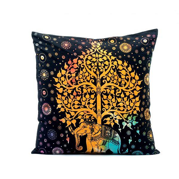 Kissen mit Elefant und Lebensbaum in schwarz bunt