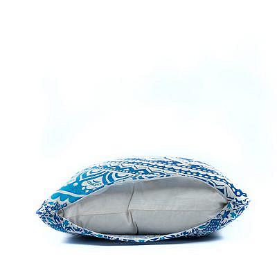 Blaues Mandala Kissen mit Reissverschluss