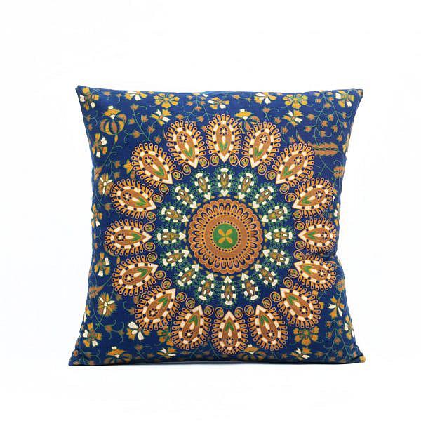 Mandala Kissen mit Pfauenfeder Muster in blau