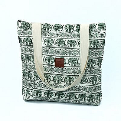 T-Bags Thailand Elefanten Shopper in grün