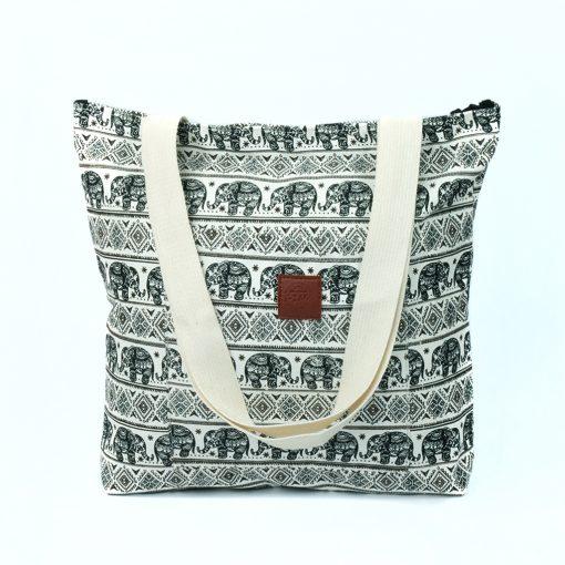 T-Bags Thailand Elefanten Shopper in schwarz