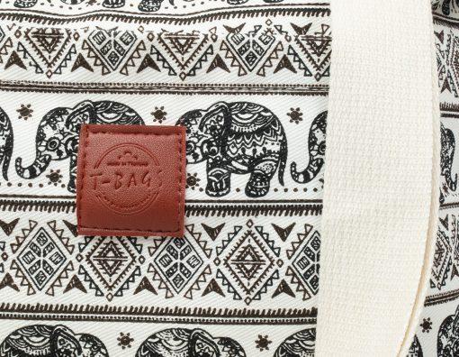 Canvas Shopper von T-Bags Thailand mit Elefanten Muster in schwarz