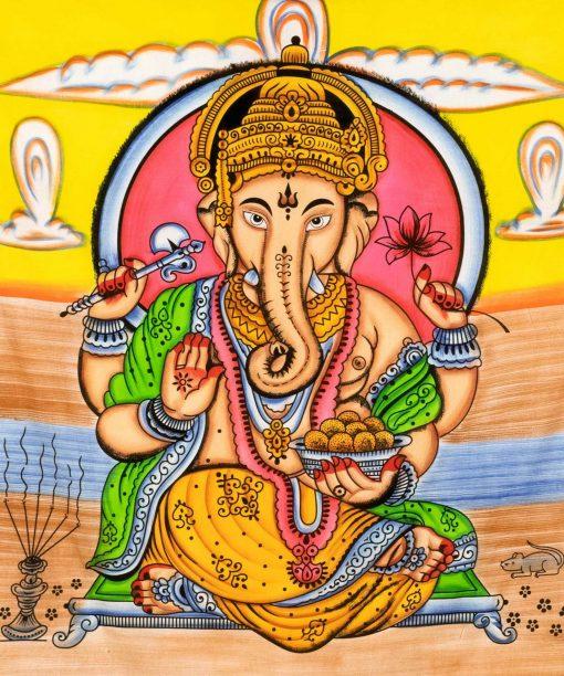 Ganesha Wandtuch in Pastellfarben, handgemalt