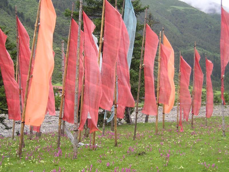 vertikale rote Gebetsfahnen