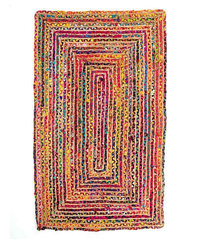 Flickenteppich bunt groß, rechteckig aus Jute und Baumwolle