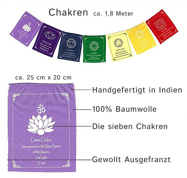 Chakra Fahnenkette aus sieben Wimpeln in den Farben der Chakren