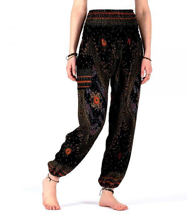 Haremshose Orient Muster schwarz gold rot - Vorderseite
