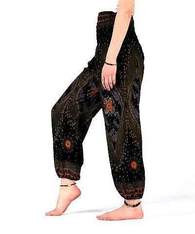 Haremshose Orient Muster schwarz gold rot - seitlich