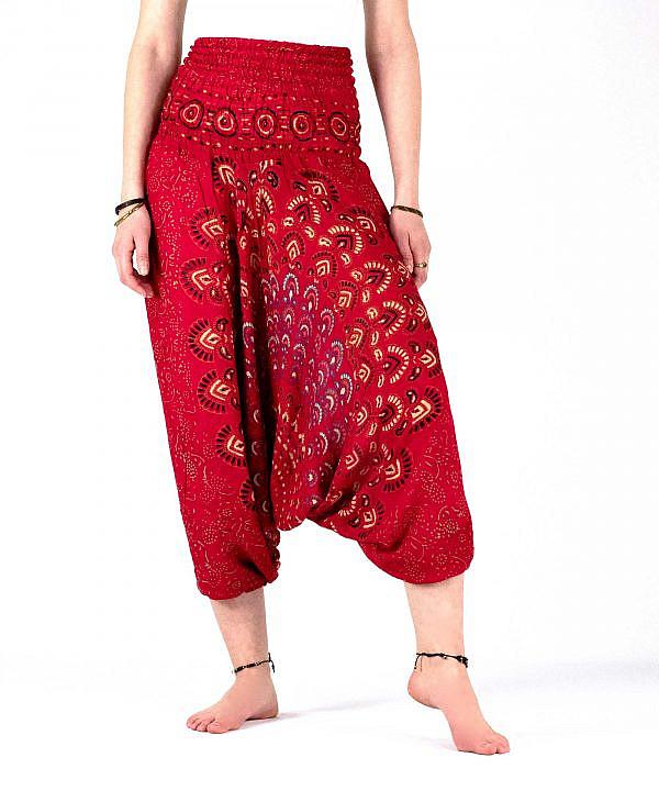 Haremshose Pfauenfeder Mandala rot, tiefer Schnitt - Vorderseite