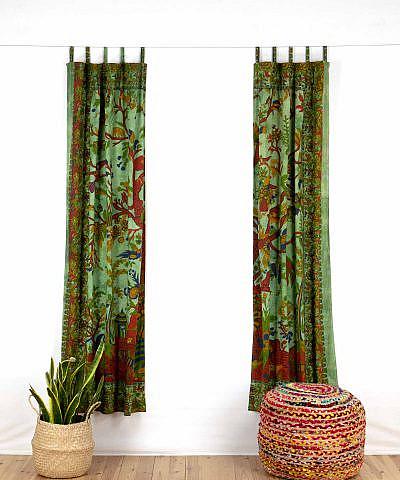 Indischer Vorhang Lebensbaum batik grün offen