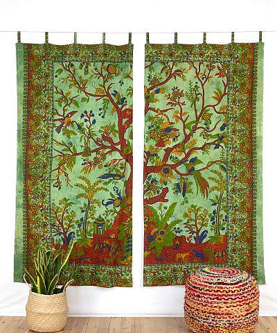 Indischer Vorhang Lebensbaum batik grün