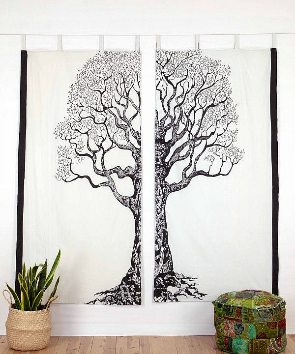 Indischer Vorhang Weltenbaum weiß schwarz mit Schlaufen