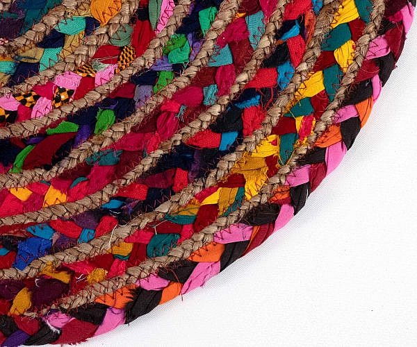 Jute Teppich rund bunt, klein ca. 60 cm