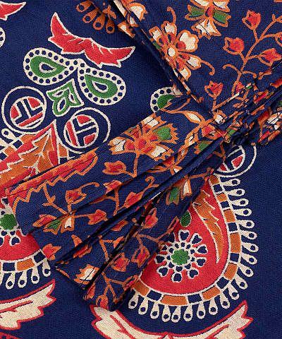 Vorhang mit Pfauenfeder Mandala in blau grün orange