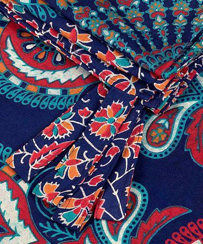 Vorhang mit Pfauenfeder Mandala in blau orange türkis