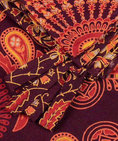 Mandala Vorhang Pfauenfeder rot orange gelb details