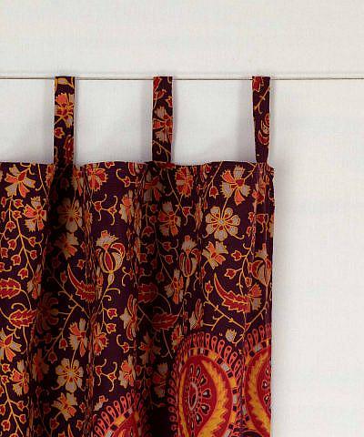 Mandala Vorhang Pfauenfeder rot orange gelb mit Schlaufen