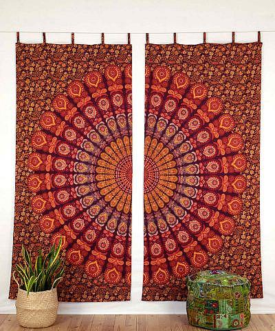 Mandala Vorhang Pfauenfeder rot orange gelb