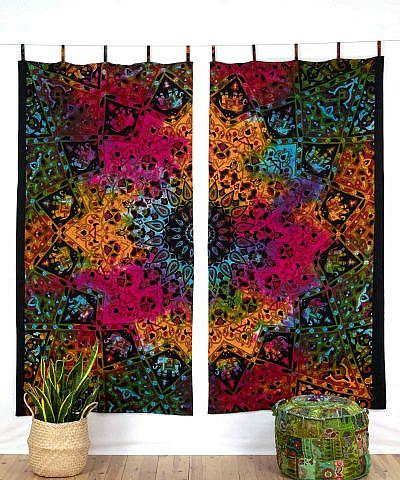 Mandala Vorhang Stern batik bunt