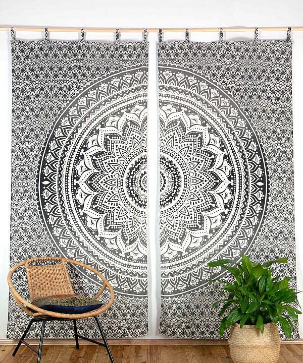 Vorhang Ombre Mandala schwarz grau mit Schlaufen