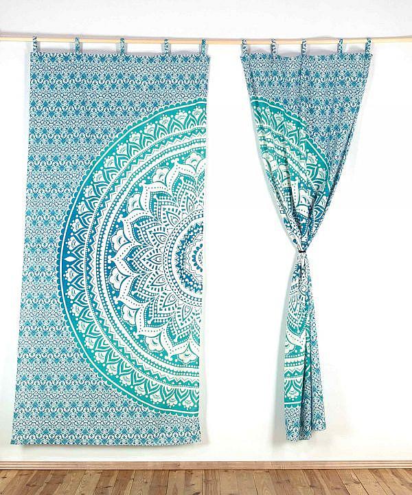 Vorhang Ombre Mandala türkis mit Schlaufen