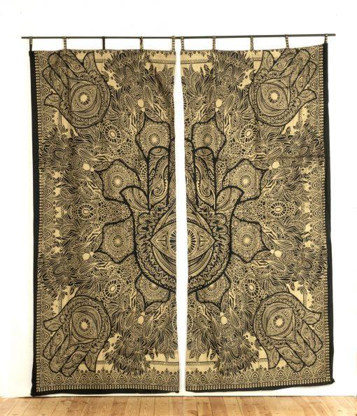 indischer vorhang fatimas hand schwarz gold