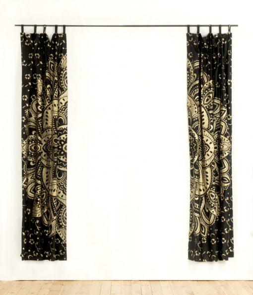 Vorhang goldener Lotus schwarz