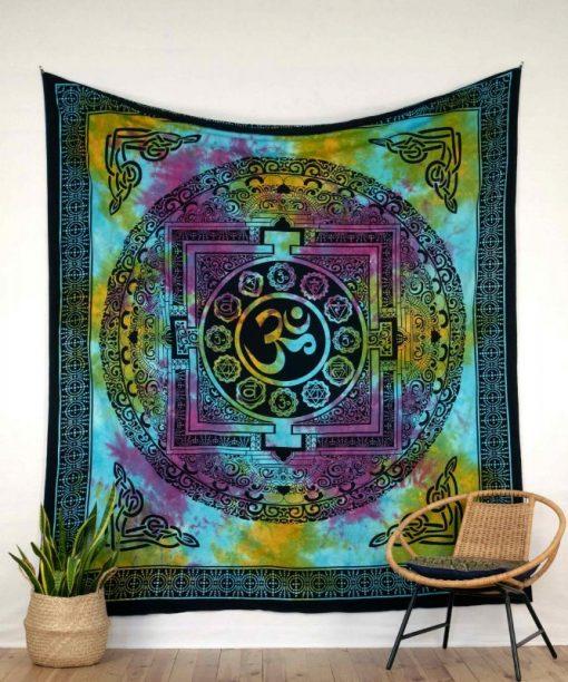 Wandtuch mit Ohm Zeichen batik bunt - groß ca. 210x230 cm