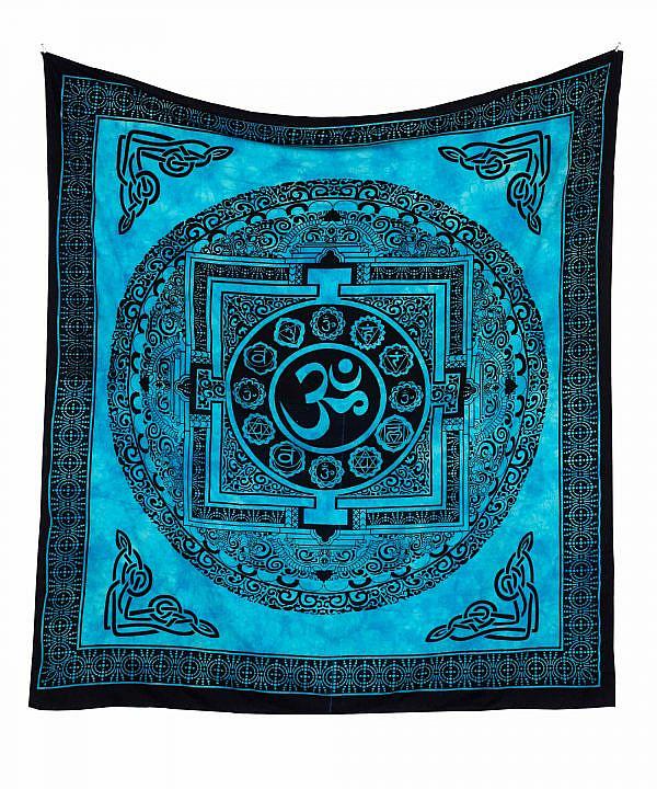 Om Wandtuch in blau, spiritueller Wandbehang aus Indien