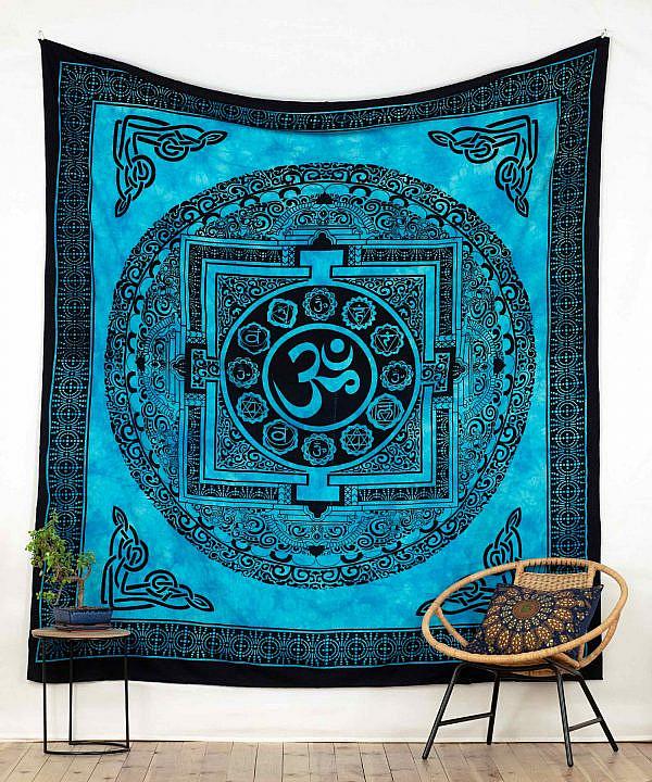 Wandtuch mit Ohm Zeichen blau - groß ca. 210x230 cm